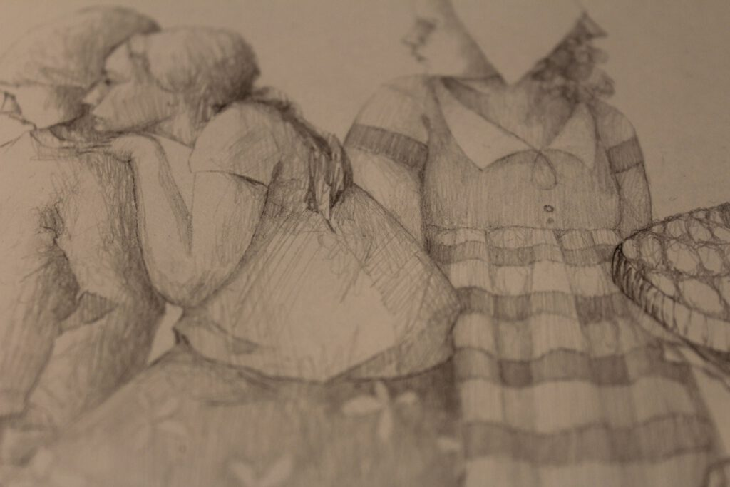 pencil sketch of painting